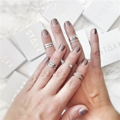 minimalist silver midi rings set of five by staxx