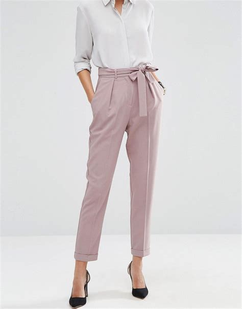 Obi Style Sash Belt At Asos by Image 4 Of Asos Woven Peg Trousers With Obi Tie Workwear
