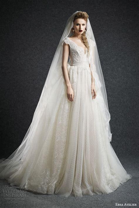 Dotted Sleeve A Line Dress ersa atelier fall 2015 wedding dresses us221