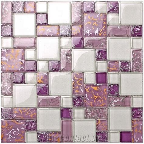 Purple Glass Mosaic Pattern Tiles for Bathroom Wall from