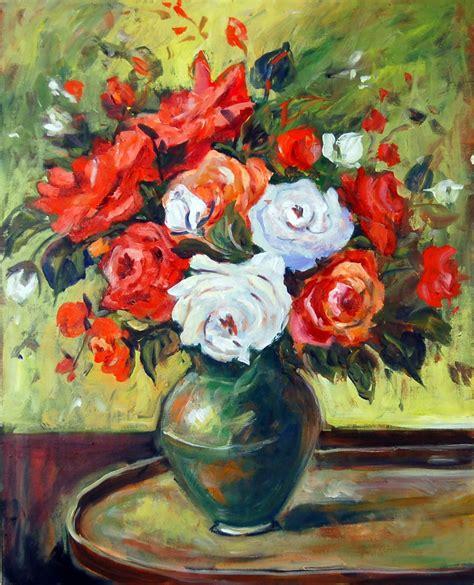 acrylic painting floral ingrid neuhofer dohm artwork and white roses