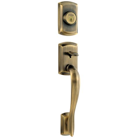 Brass Exterior Door Handles Shop Kwikset Avalon Adjustable Antique Brass Entry Door Exterior Handle At Lowes