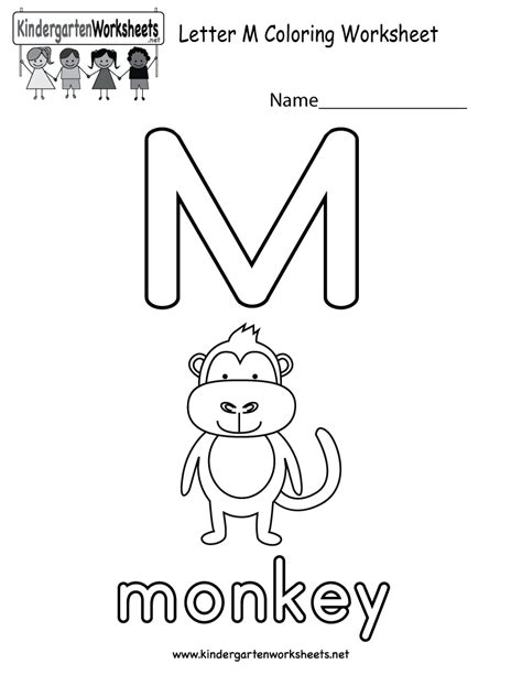 kindergarten coloring sheets letter m letter m coloring worksheet free kindergarten english