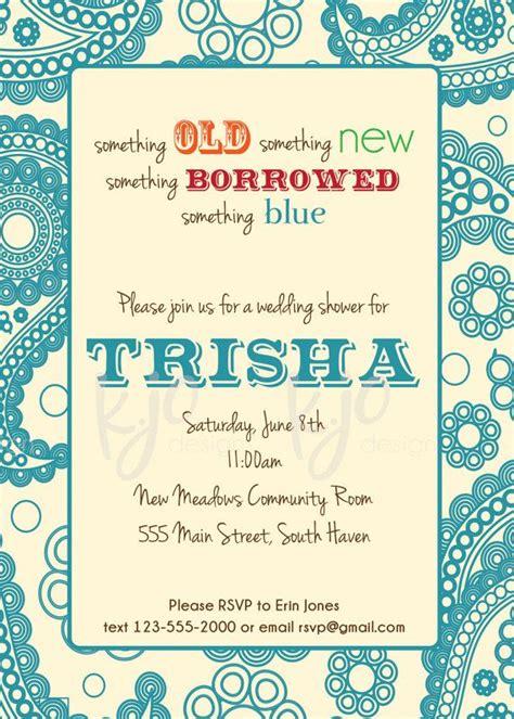 something old something new something borrowed something blue custom bridal shower invitation something old something