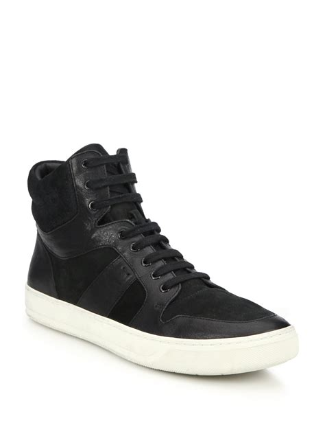 black high top sneakers mens lyst vince adam leather suede high top sneakers in