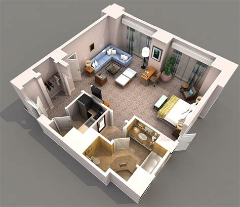 3d floorplan studio apartment floor plans