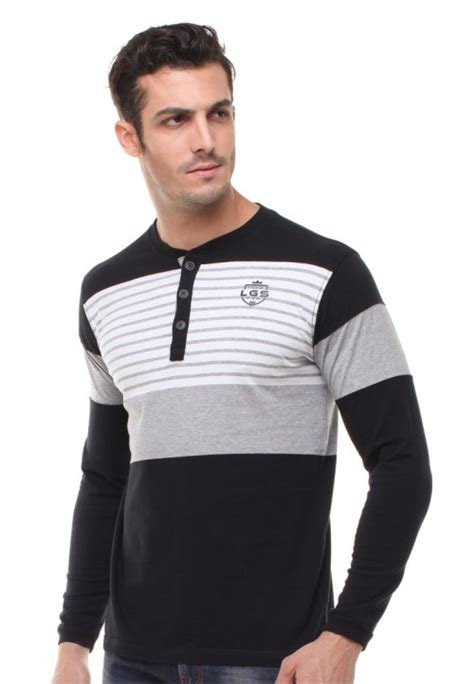 Kemeja Koko Garis Putih Hitam slim fit henley shirt lengan panjang garis garis