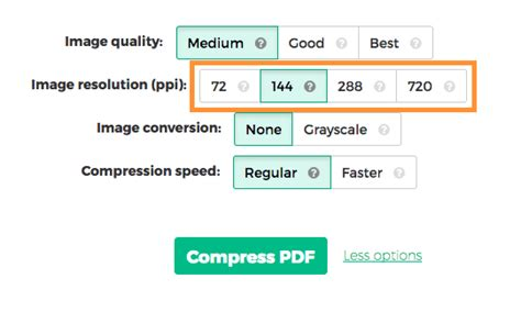 compress pdf no size limit reduce resolution size dpi number of pixels in pdf images