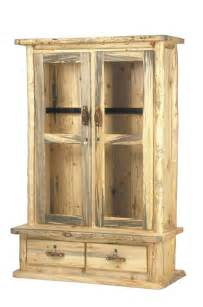 rustic aspen pine log pub tables log gun cabinets log