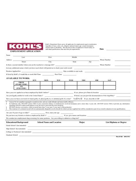 kohls printable job application pdf kohls job application free resumes tips
