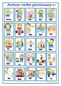 verbs pictionary 1 worksheet free esl printable