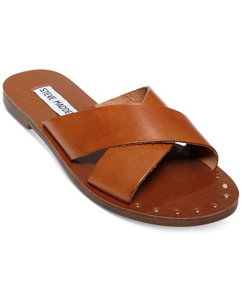lyst steve madden dryzzle crisscross sandals in brown