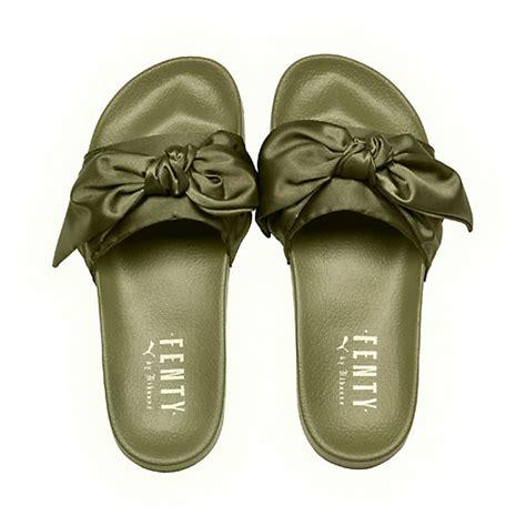 Fenty Bow Black Sandal fenty by rihanna bow slide sandals bow s slide sandals olive branch green