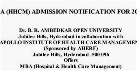 Ou Mba Admission Requirements by Ambedkar Open Mba Admission 2014 2015
