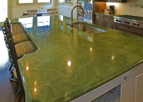 Green Countertops by Kitchen Looking Kitchen Design Using White Kitchen Cabinet Designed With Green Onyx Granite