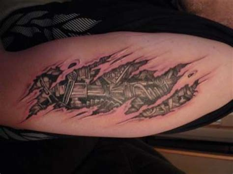 rip tattoos on arm bio mech rip