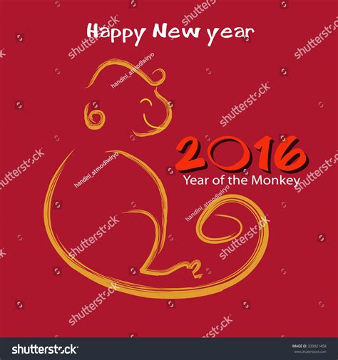 new year year of the monkey happy new year 2016 year of the monkey vector