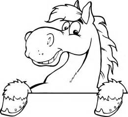 Printable outline of a smiley cartoon horse for kids coloring