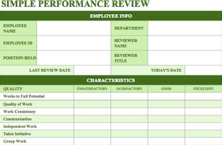 70 Fabulous Free Employee Performance Review Templates Performance Review Template Excel