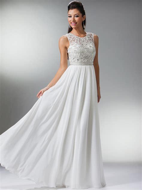 Longdress White white sheer beaded sleeveless evening dress 1 1