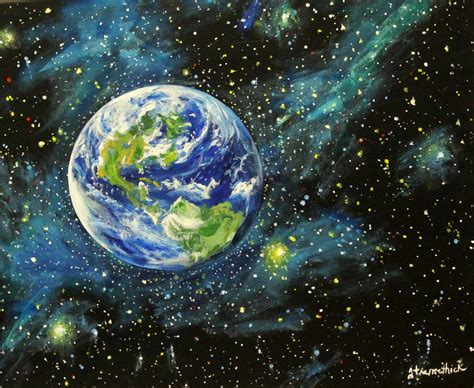 acrylic paint universe earth planet planet universe artwork cosmic
