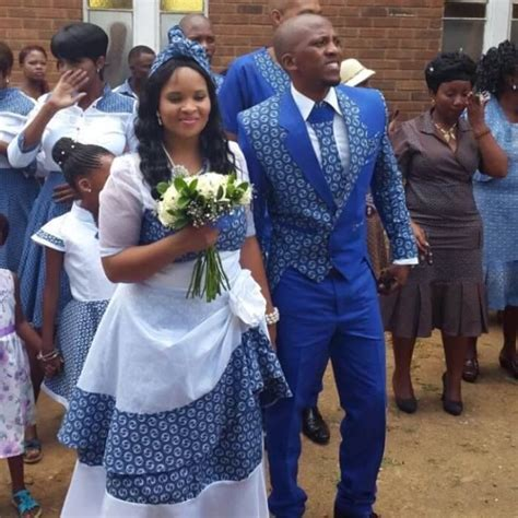 Blue and white Traditional wedding attire.   Weddings