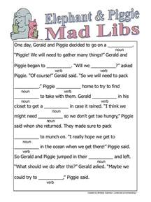 elephant and piggie mad libs we did this after reading