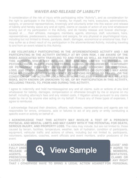 indemnity waiver template indemnity waiver template gallery free templates ideas