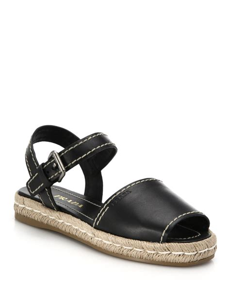 black sandal prada leather espadrille sandals in black lyst