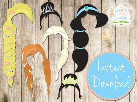 printable photo booth props disney instant download modern princess photobooth props
