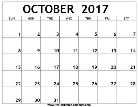 printable calendar 2017 no download october 2017 calendar download printable template with