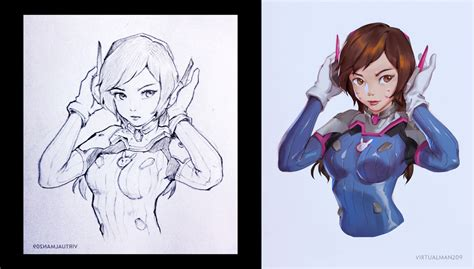 D Va Sketches by D Va Sketch To Color By Virtualman209 On Deviantart