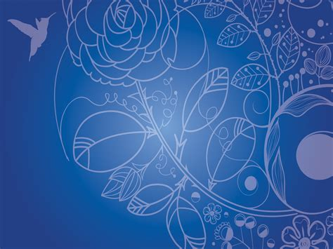 Floral Drawings Powerpoint Templates Blue Flowers Flower Blue Patterns Ppt Backgrounds