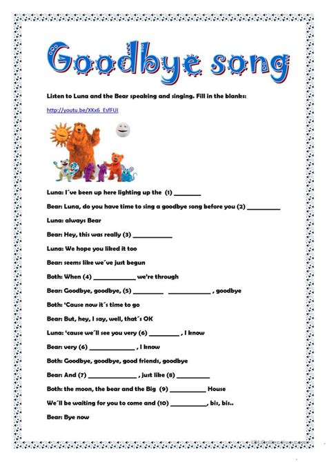 s day song esl goodbye song worksheet free esl printable worksheets