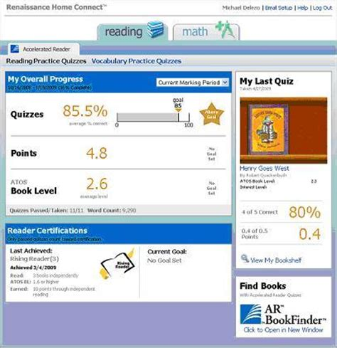 accelerated reading log