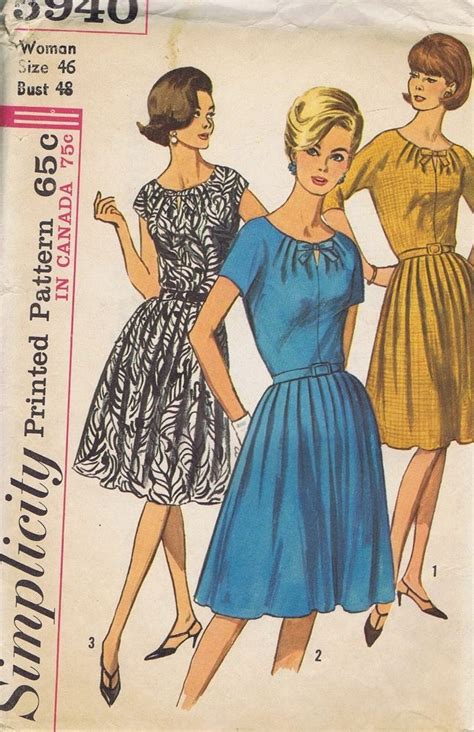 dress pattern pieces vintage sewing pattern one piece dress simplicity size 46