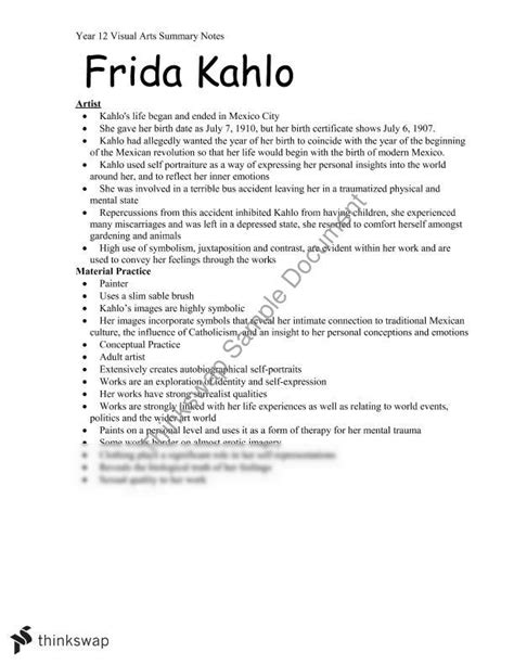 biography of frida kahlo summary summary notes on practice and analysis on 2 artworks