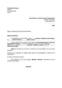 Lettre De Recommandation Emploi Gratuit modele lettre de recommandation pour emploi