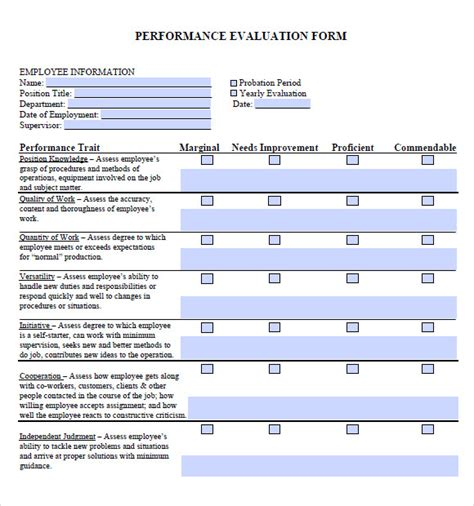 performance evaluation templates performance evaluation form 7 documents in pdf
