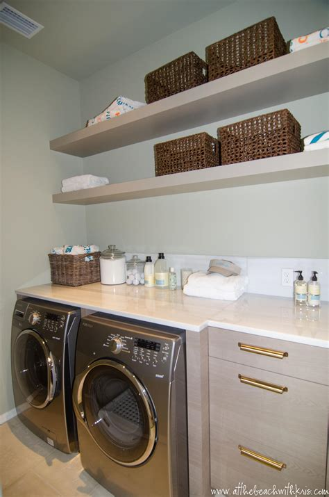 laundry room shelves at the with kris investment flipping remodeling