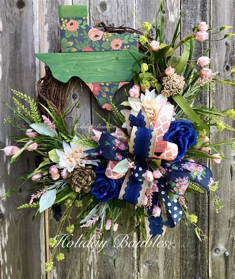floral texas grapevineby holiday baubles shabby chic