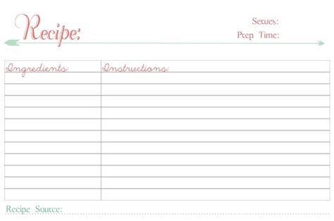 Free Printable Recipe Cards Recipe Template
