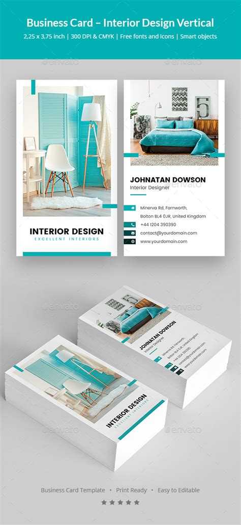 interior designer business card template business card interior design vertical by artbart
