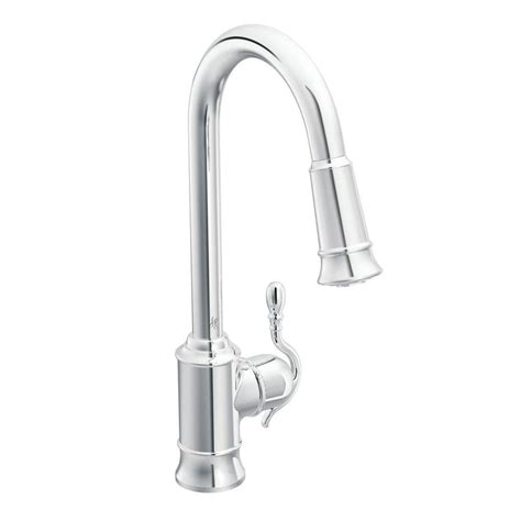 single handle moen kitchen faucet moen woodmere single handle pull sprayer kitchen faucet featuring reflex in chrome 7615c