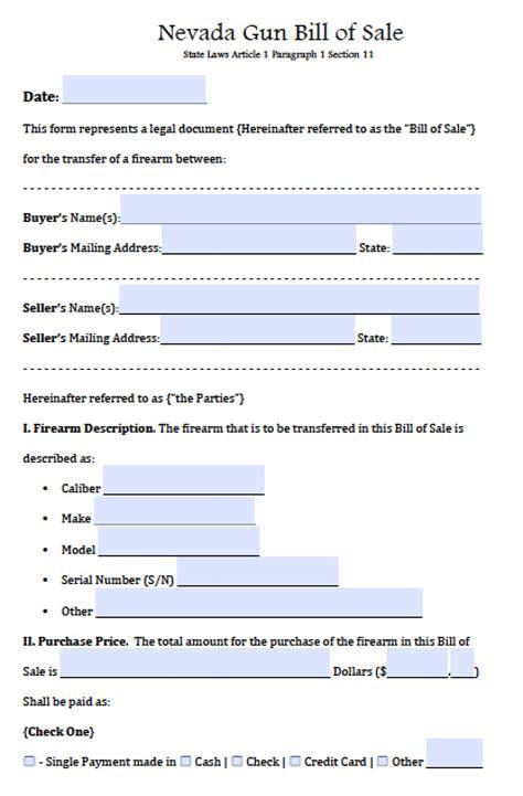 firearm bill of sale form free nevada firearm gun bill of sale form pdf word doc