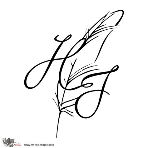 letter h designs tattoo of h j feather bond custom designs