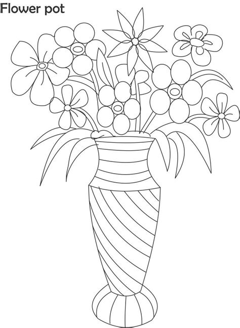 printable flowers in pots flower pot coloring printable page for kids 5