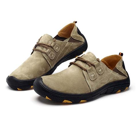 comfortable slip resistant shoes men hiking shoes leather soft comfortable wear and slip