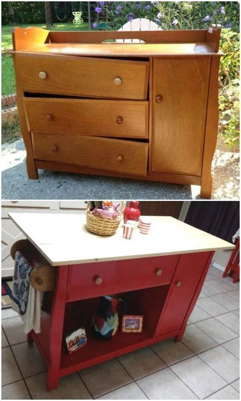 kitchen island made from an changing table diy