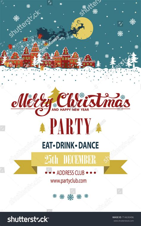 party title for christmas new year invitationcard year templatesanta claus stock vector 714630496